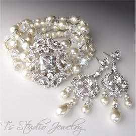 Pearl and Crystal Bridal Cuff Wedding Bracelet
