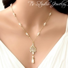 Back Drop Lariat Bridal Necklace & Chandelier Earrings Set