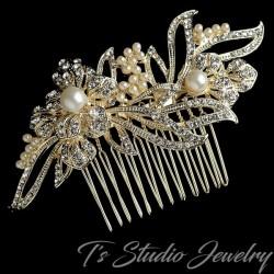 Gold Floral Rhinestone & Pearl Bridal Hair Comb