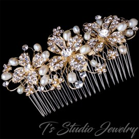 Freshwater Pearl and Gold Bridal Hair Comb