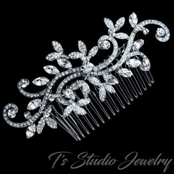 Silver Swirl Design Leaf Bridal Hair Comb