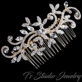 Swirl Design Leaf Bridal Hair Comb
