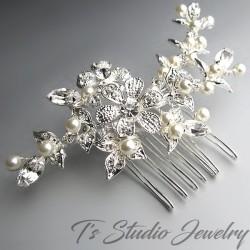 Swarovski Pearl Silver Bridal Hair Comb