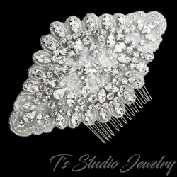 Rhinestone and Organza Bridal Hair Comb