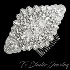 Rhinestone and Fabric Bridal Hair Comb