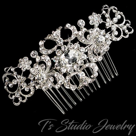 Silver Rhinestone Bridal Hair Comb