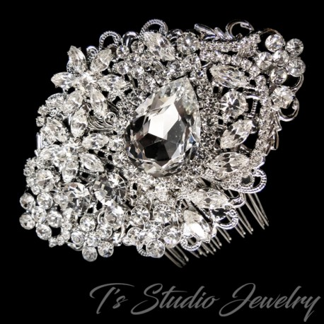 Antique Rhodium Silver Crystal Bridal Hair Comb