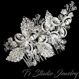 Silver Crystal Floral Bridal Hair Comb