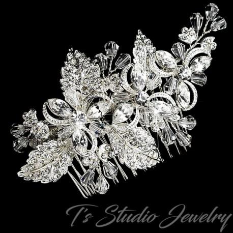 Silver Clear Rhinestone & Crystal Floral Bridal Hair Comb
