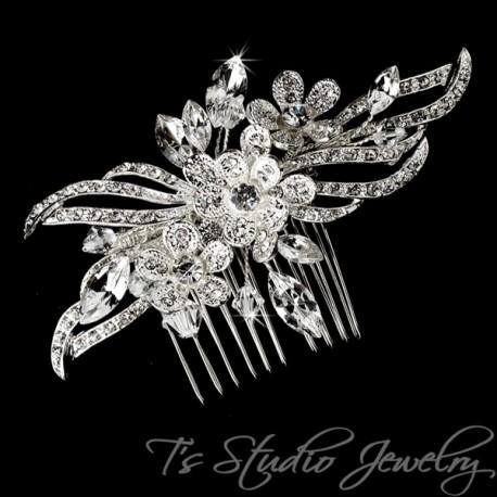Silver Floral Rhinestone & Pearl Bridal Hair Comb