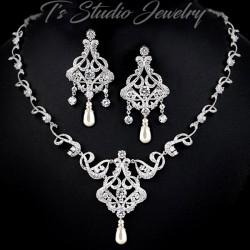 CZ Pave Pearl Bridal Jewelry Set
