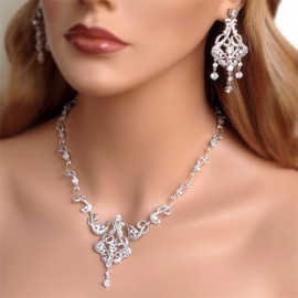 CZ Pave Crystal Bridal Necklace Earrings Set
