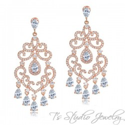 Delicate Rose Gold Chandelier Bridal Earrings