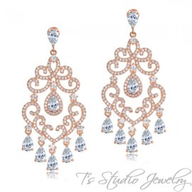 Delicate Crystal Chandelier Bridal Earrings - Silver or Rose Gold