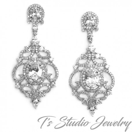 Delicate CZ Pave Bridal Chandelier Earrings