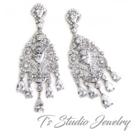 CZ Crystal Chandelier Wedding Earrings