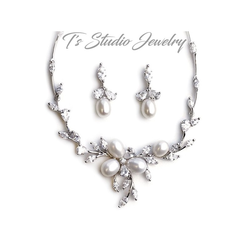 6ea1a4eef Freshwater Pearl Crystal Bridal Jewelry Necklace Earrings Jewelry Set
