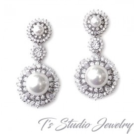CZ & Pearl Drop Bridal Wedding Earrings