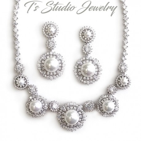 Round Pearl Drop Bridal Necklace & Earrings Set