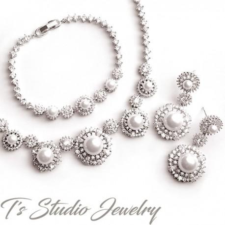 Pearl Bridal Necklace Bracelet & Earrings Set