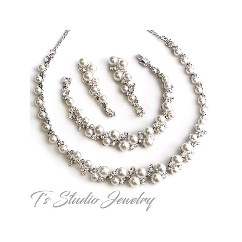 Pearl Crystal Rhinestone Bridal Necklace Bracelet Earrings