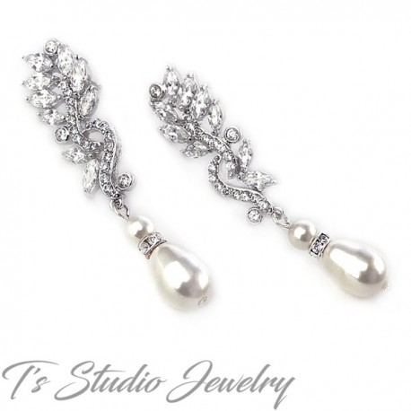 Marquise Leaf CZ Crystal Pearl Bridal Earrings