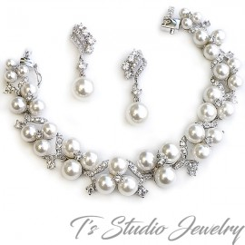 Pearl and CZ Bridal Bracelet & Earrings