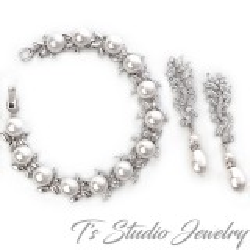 Marquise CZ Pearl Bridal Bracelet & Earrings