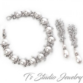 Marquise CZ Pearl Bridal Bracelet & Earrings