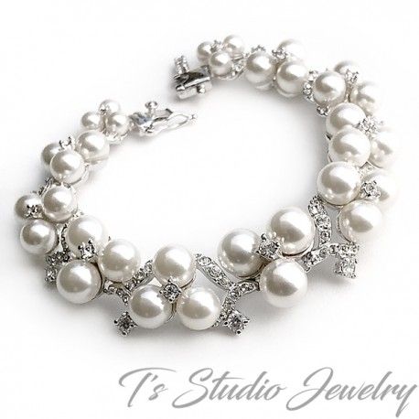 Pearl & Crystal Bridal Bracelet & Earrings Set