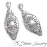 Vintage Style Cubic Zirconia Bridal Earrings