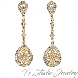 Gold Vintage Art Deco Style Bridal Earrings
