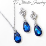 Sapphire Blue Crystal Necklace Earrings Set