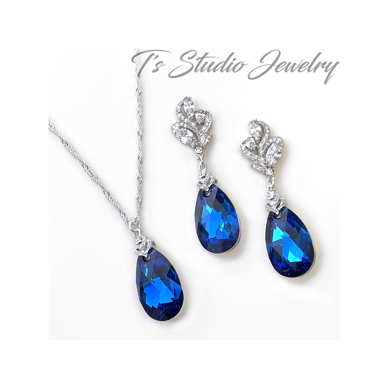 d17756f84 Horizon Sapphire Blue Necklace Earrings Set Bridesmaid Wedding Jewelry