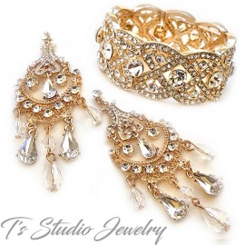 Gold Crystal Bridal Bracelet & Earrings