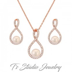 Rose Gold Infinity Pearl Necklace & Earrings Set
