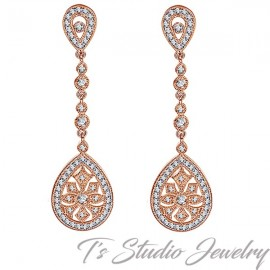 Rose Gold Vintage Style Bridal Earrings