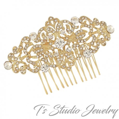 Vintage Style Crystal Rhinestone Gold Bridal Hair Comb Wedding Hair