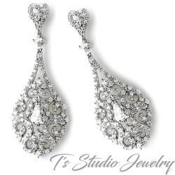 Vintage Teardrop Bridal Chandelier Earrings