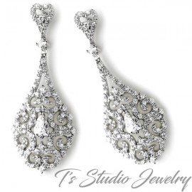 Vintage Teardrop Bridal Chandelier Earrings