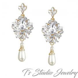 Vintage Gold Pearl Bridal Chandelier Earrings