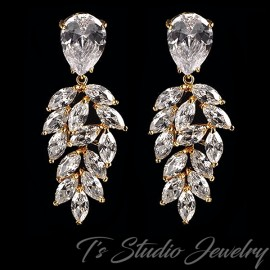 Gold Marquise & Pear CZ Bridal Earrings