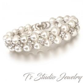 Cubic Zirconia & Pearl Bridal Bracelet