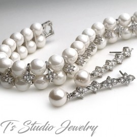 CZ & Pearl Bridal Bracelet Earrings Set