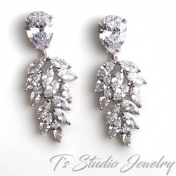 Marquise & Pear CZ Bridal Earrings