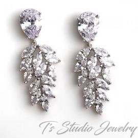 Marquise & Pear CZ Bridal Earrings