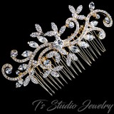 Gold Swirl Design Leaf Bridal Hair Comb