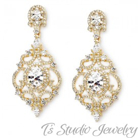 Delicate Gold Pave Bridal Earrings