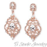 Rose Gold Pave CZ Bridal Earrings