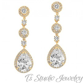 Gold Teardrop CZ Bridal Chandelier Earrings